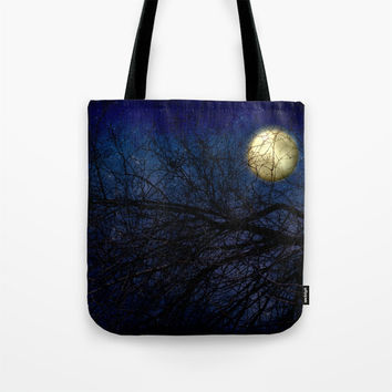 Art Tote beach Bag Blue Moon photography Fashion photograph photo Navy Royal blue full moon stars sky Gothic star dark art