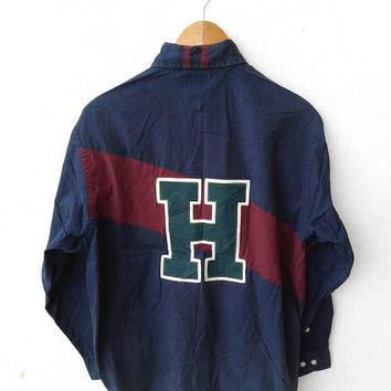 CLEARANCE SALE 25% 90's Vintage TOMMY Hilfiger Buttondown Blue Shirt Polo Hip Hop Size