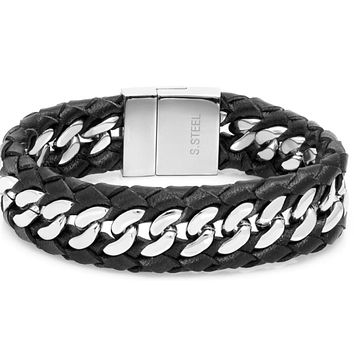 Solid bracelet made with leather and stainless steel accentuates your masculinity and can stylishly complement your watch's strap