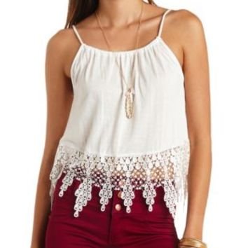 Crochet-Trimmed Swing Crop Top by Charlotte Russe