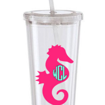 Seahorse Tumbler,Personalized Tumbler, Beach Cup,Girls Beach Trip Tumbler,Nautical Beach Cup Preppy Monogram Cup Acrylic Tumbler Custom Cup