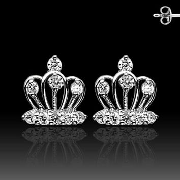 Pair of Stainless Steel STUD EAR WildKlass RingS W/ALL PRONG SET CZ CROWN (Sold as a Pair)