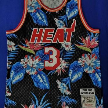 Dwyane Wade Miami Heat Mitchell & Ness Floral Fashion Hardwood Classics Swingman Jersey - Best Deal Online