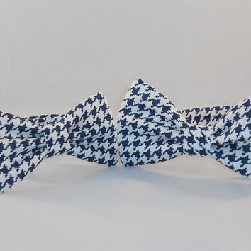 Father and Son Navy and White Houndstooth Pattern Adjustable Bowtie Set