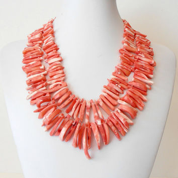 Beaded Necklace Coral Dagger Multistrand Salmon Pink Statement Necklace Beaded Jewelry Chunky Necklace