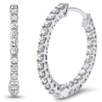 14K White Gold .54TCW Earth Mined Diamond Hoop Earrings