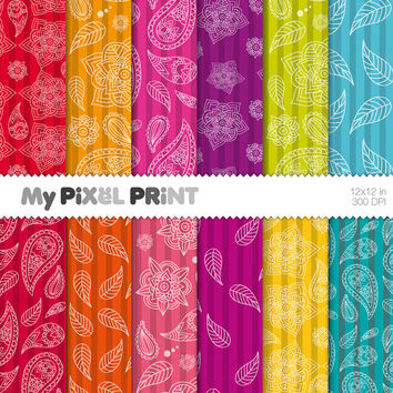 India Paisley - Red Blue Orange Green Yellow Violet Rainbow Colours - Digital Scrapbooking Paper Pack - My Pixel Print