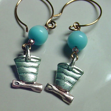 Beach EarringsPastel Blue and Pink Shovel and by BrandonArtists