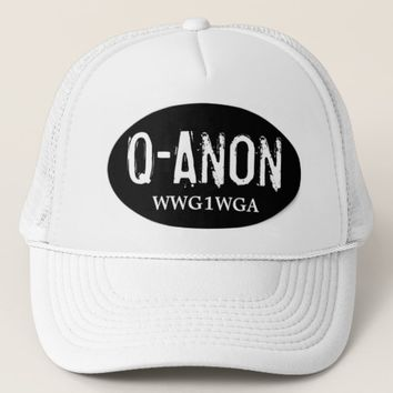 QANON WWG1WGA BLACK & WHITE MEN'S TRUCKER HAT