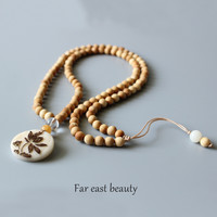Natural Wood 108mala Beads Necklace ~ Tagua Nut Carved Lotus Flower Pendant