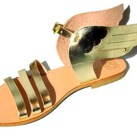 Hermes gold sandals, Greek wing leather sandals, women sandals, goddess sandals, authentic leather handmade sandals, women shoes