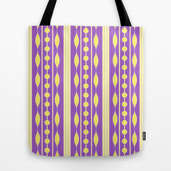 Artistic yellow purple stripes pattern Tote Bag by cycreation