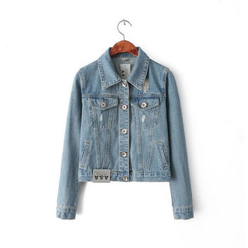 Women Big Hole Ripped Destroyed Distressed Jeans Denim  Sweater Cardigan Coat Jacket Outerwear _ 9966