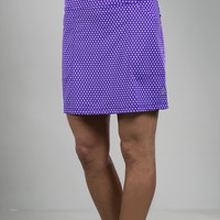 JoFit Ladies & Plus Size Printed Mina Golf Skorts - Malbec (Violet Swiss Dot)