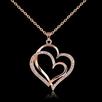 Summer Gold Plated Crystal Double Heart Pendant Luxury Jewelry Zirconia Love Necklaces Valentine's Day Wedding Jewelry