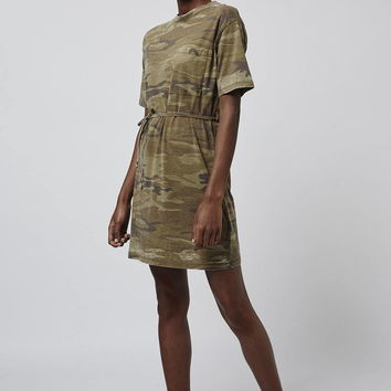 Camo Belted Tee Dress - Topshop