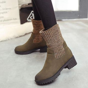 On Sale Hot Deal Vintage Dr. Martens Winter Knit Patchwork Casual Boots [107636785177]