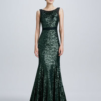 Sleeveless Mermaid Sequined Gown