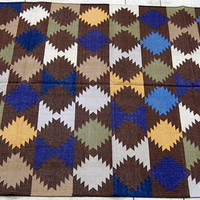 Handmade Cotton Panja Rugs Carpet,Twenty Count Twenty Ply Threads Washable Rug,Reversible Geomatric Designs,Special Occasion Rug and Carpet