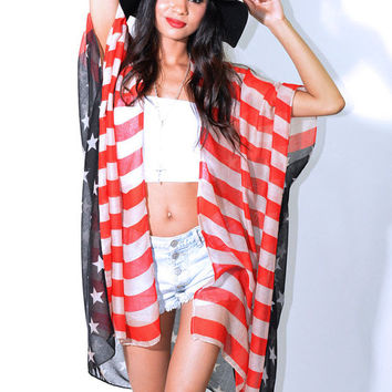 AMERICAN Flag USA Draped Gauze Hippie Boho Festival Kimono Cape Coat Jacket Free Priority Shipping!