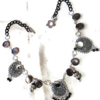 Downton Abbey ?  Beaded necklace  in a Victorian Style Choker design with  Filigree Medallions