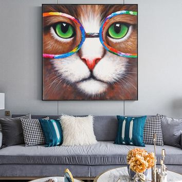 Watercolor Wall Art Canvas Prints Cat Animals Painting On The Wall Graffiti Pop Art Lion Poster For Living Room Cuadros Decor