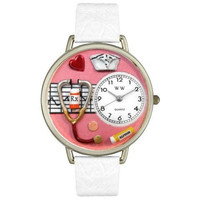 Whimsical Unisex Nurse Red White Skin Leather Watch