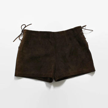 Vintage 60s SUEDE Shorts / 1960s Dark Brown Leather Lace-Up Sides Hot Pants