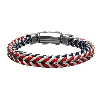 316L Stainless Steel Double Wheat Link with Blue & Red Braided Leather Bracelet 8.5""