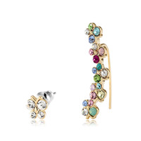 Rhinestone Multicolor Butterfly Ear Pin Earrings
