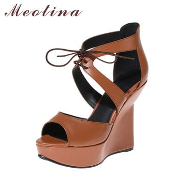 Meotina Shoes Women Sandals Summer Genuine Leather Shoes High Heels Platform Sandals Cross Strap Platform Wedges Sexy Party Shoe