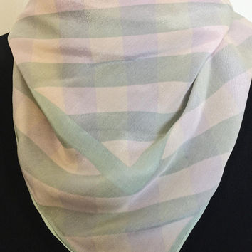 Vintage Triangle Scarf, Pastel Light Pink And Soft Blue, Vintage Accessory, Neck/Purse Scarf, DIY Craft Project