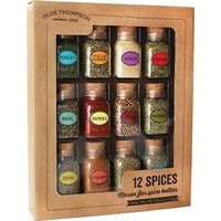Olde Thompson Mason Spice Jar Gift Set - 12 Spices Refillable Jars