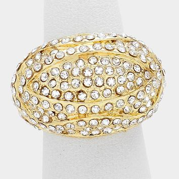 Crystal Pave Fashion Stretch Dome Ring