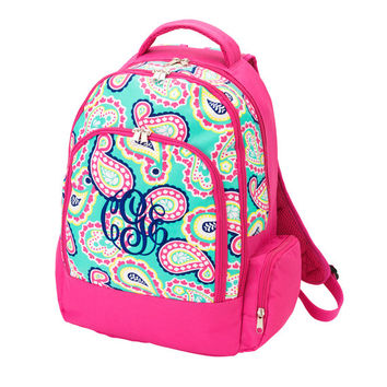 Monogrammed Backpack Mint Hot Pink Paisley Bookbag Back Pack Boo