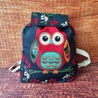 Owl Backpack Cute Animal Boho Styles Wiven fabric Art Canvas Boho design Overnight Festival School Travel bag Hippie Hipster gift her kids