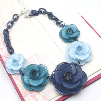 Color flower necklace 2016 ZHONGLV Luxury Multilayer Chain Resin Crystal BLUE Flower Statement Necklaces ZA choker body Jewelry