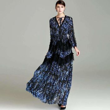 V-Neck Star And Floral Print High Quality 2018 Fashion Designer Runway Lace lace Maxi Dress Women's Pleated Long Dress