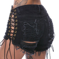 Heyouthoney Sexy summer S-3XL women denim black ripped short jeans high waisted tassel elastic lace up bandage shorts hotpants