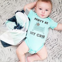 """Party at My Crib"" Funny Baby Onesuit"
