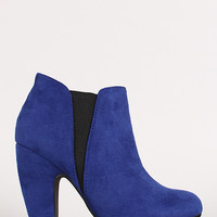 Two Tone Round Toe Chunky Heel Chelsea Bootie