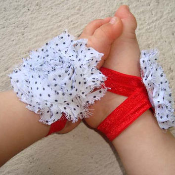White and Black Polk Dot with Red Elastic Baby Barefoot Sandals - Piggy Petals - Toe Blooms - Photo Props - Baby Shower Gift - Baby Shoes