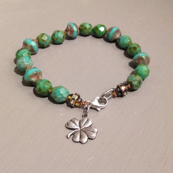 Four Leaf Clover Bracelet, Sterling Silver, Knotted, Vintage Shamrock, Lucky, Irish