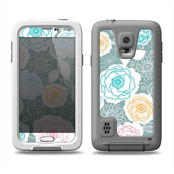 The Subtle Gray & White Floral Illustration Samsung Galaxy S5 LifeProof Fre Case Skin Set