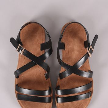Bamboo Double Band Crisscross Flat Sandal