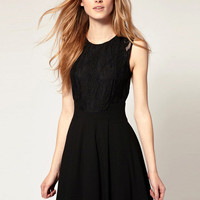 Black Sleeveless Lace Chiffon A-Line Pleated Mini Dress