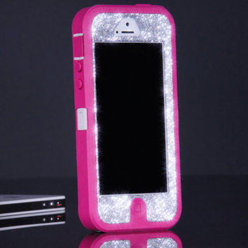 Pink iPhone 5 Otterbox Case - Silver Glitter Otterbox Defender iPhone 5 Case - Custom Sparkly Glitter Bling iPhone 5 Cover