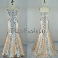 Mermaid Strapless Sweetheart Sequined Champagne Prom Dresses, Evening Dresses, Evening Gown