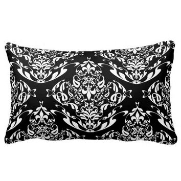 Stylish Black And White Floral Damask Pattern Throw Pillows