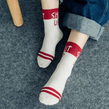 Unisex Funny Cool Letter Print Socks Socken Cotton Socks for Men Sock Funny Socks with print   for Women